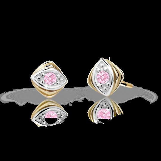 Children's earrings Danfil C1897 Yellow gold, Pink, Screw backs