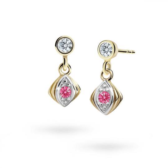 Children's earrings Danfil C1897 Yellow gold, Tcf Red, Butterfly backs