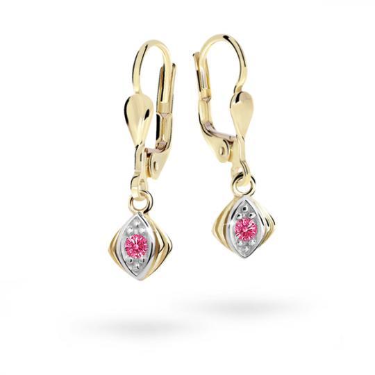 Children's earrings Danfil C1897 Yellow gold, Tcf Red, Leverbacks