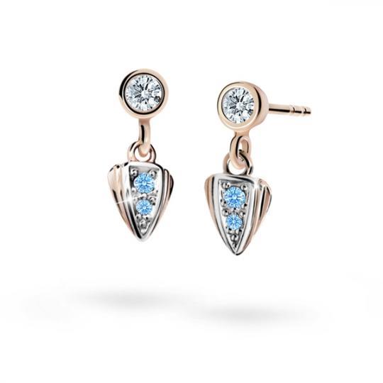 Children's earrings Danfil C1899 Rose gold, Arctic Blue, Butterfly backs