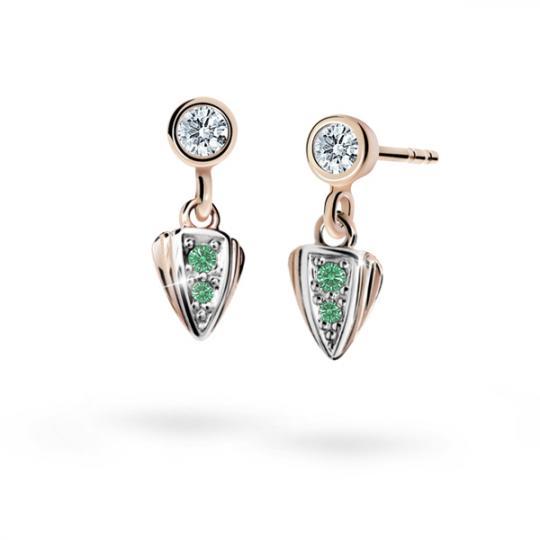 Children's earrings Danfil C1899 Rose gold, Emerald Green, Butterfly backs