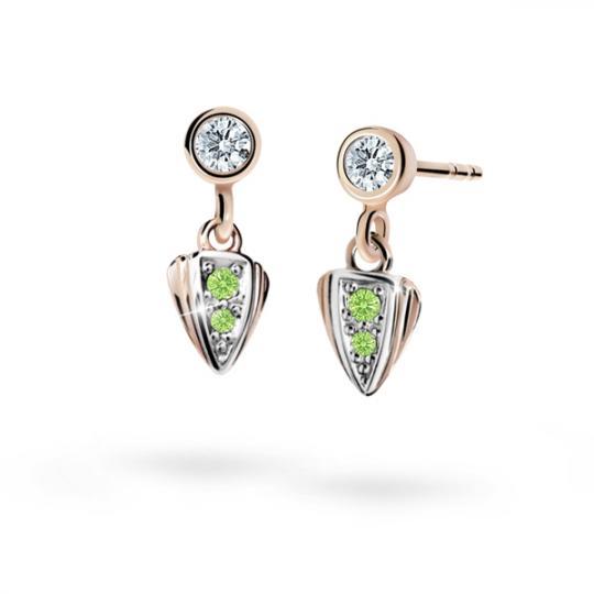 Children's earrings Danfil C1899 Rose gold, Peridot Green, Butterfly backs