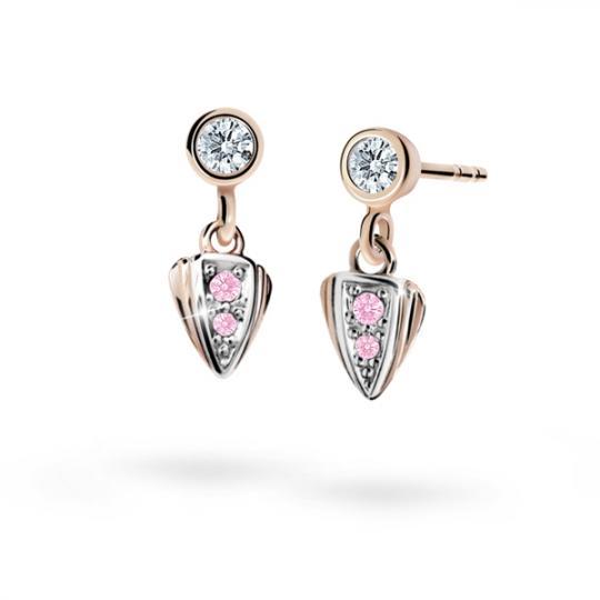 Children's earrings Danfil C1899 Rose gold, Pink, Butterfly backs