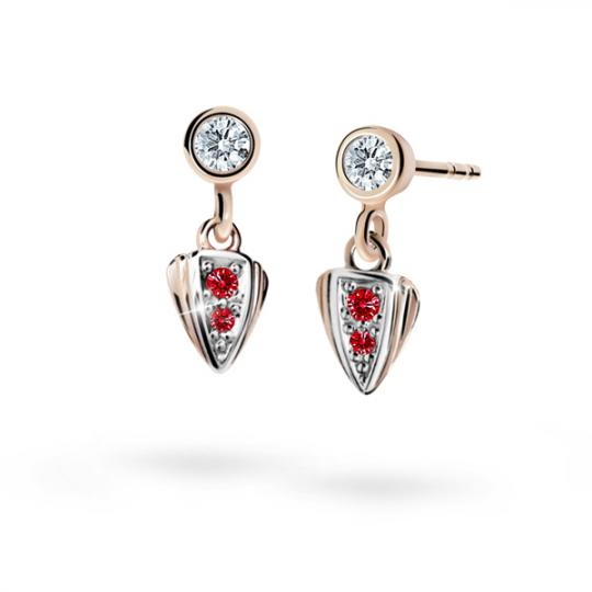 Children's earrings Danfil C1899 Rose gold, Ruby Dark, Butterfly backs