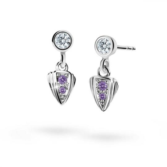 Children's earrings Danfil C1899 White gold, Amethyst, Screw backs