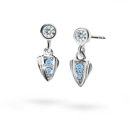 Children's earrings Danfil C1899 White gold, Arctic Blue, Screw backs