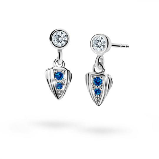 Children's earrings Danfil C1899 White gold, Dark Blue, Screw backs