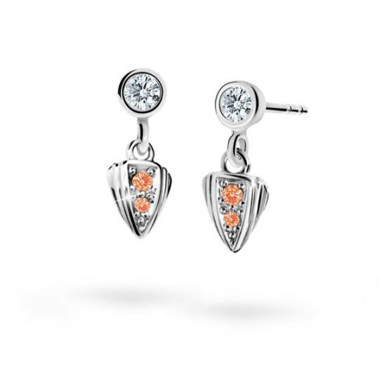 Children's earrings Danfil C1899 White gold, Orange, Butterfly backs