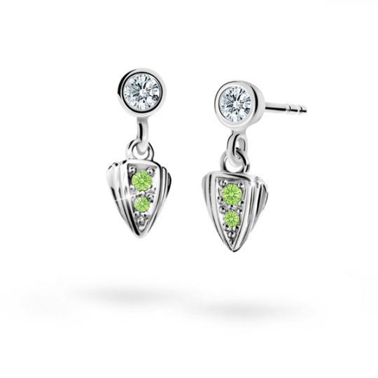 Children's earrings Danfil C1899 White gold, Peridot Green, Screw backs