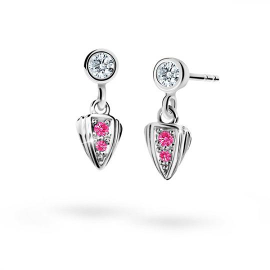 Children's earrings Danfil C1899 White gold, Tcf Red, Screw backs