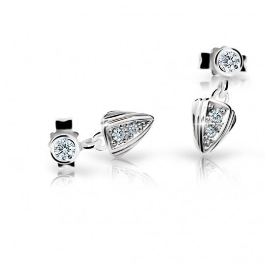 Children's earrings Danfil C1899 White gold, White, Butterfly backs