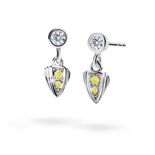 Children's earrings Danfil C1899 White gold, Yellow, Butterfly backs