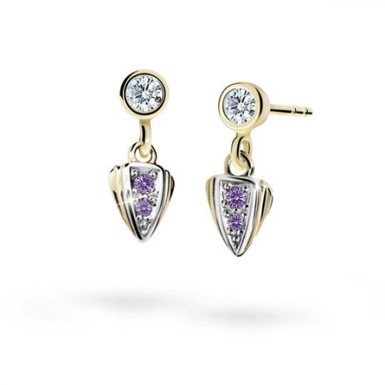 Children's earrings Danfil C1899 Yellow gold, Amethyst, Screw backs