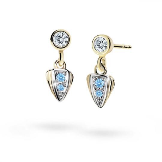 Children's earrings Danfil C1899 Yellow gold, Arctic Blue, Butterfly backs