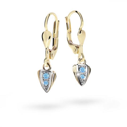 Children's earrings Danfil C1899 Yellow gold, Arctic Blue, Leverbacks