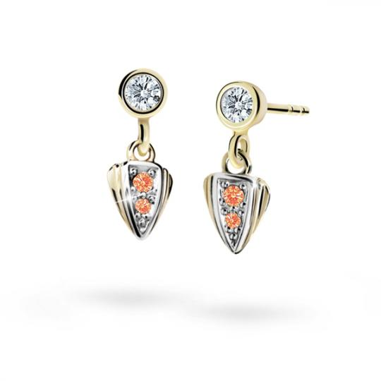 Children's earrings Danfil C1899 Yellow gold, Orange, Butterfly backs
