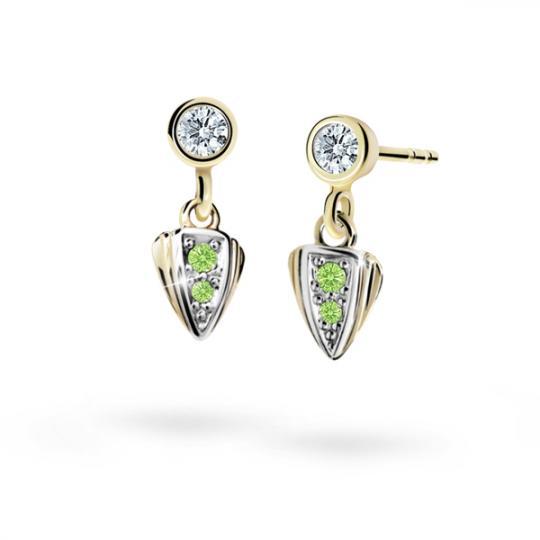 Children's earrings Danfil C1899 Yellow gold, Peridot Green, Butterfly backs