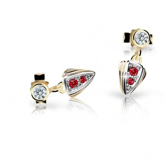 Children's earrings Danfil C1899 Yellow gold, Ruby Dark, Butterfly backs