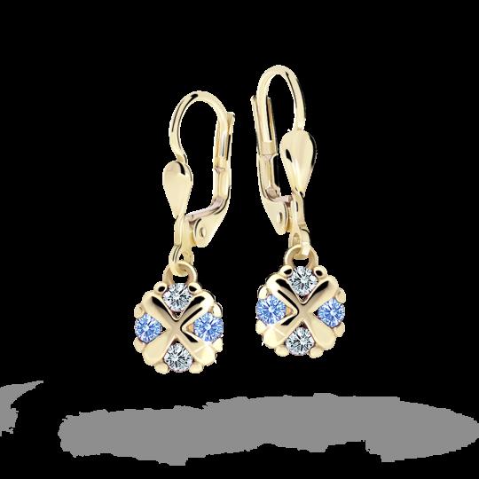 Children's earrings Danfil C2153 Yellow gold, Arctic Blue, Leverbacks