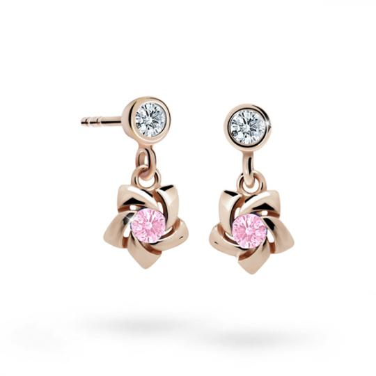 Children's earrings Danfil C2201 Rose gold, Pink, Screw backs