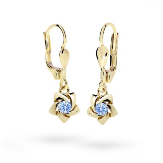 Children's earrings Danfil C2201 Yellow gold, Arctic Blue, Leverbacks