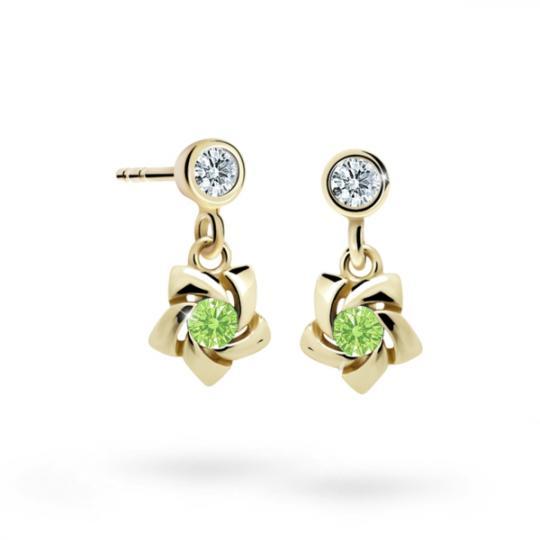 Children's earrings Danfil C2201 Yellow gold, Peridot Green, Screw backs