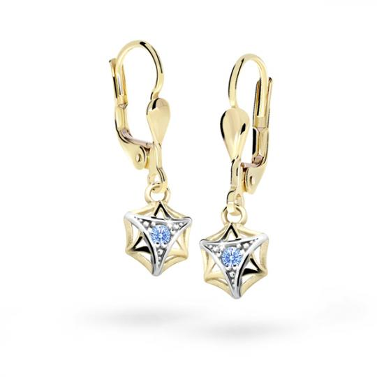 Children's earrings Danfil C2209 Yellow gold, Arctic Blue, Leverbacks