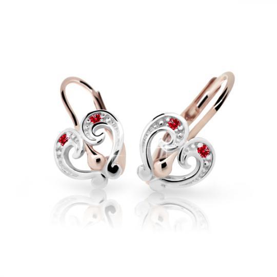 Children's earrings Danfil C2211 Rose gold, Ruby Dark, Leverbacks
