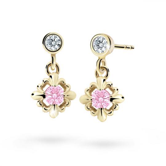Children's earrings Danfil C2212 Yellow gold, Pink, Butterfly backs