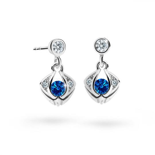 Children's earrings Danfil C2217 White gold, Dark Blue, Screw backs