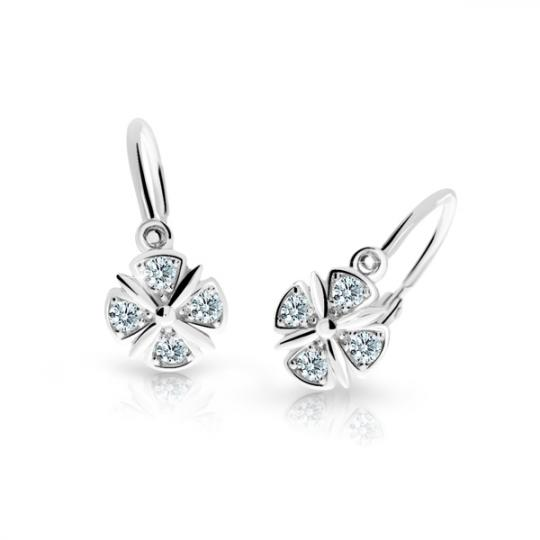 Childrens Earrings Danfil C2245 White Gold with White Rhinestones
