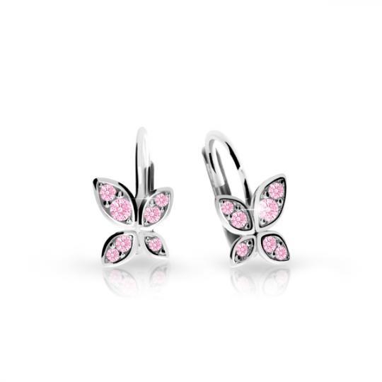 Children's earrings Danfil C2259 White gold, Pink, Leverbacks