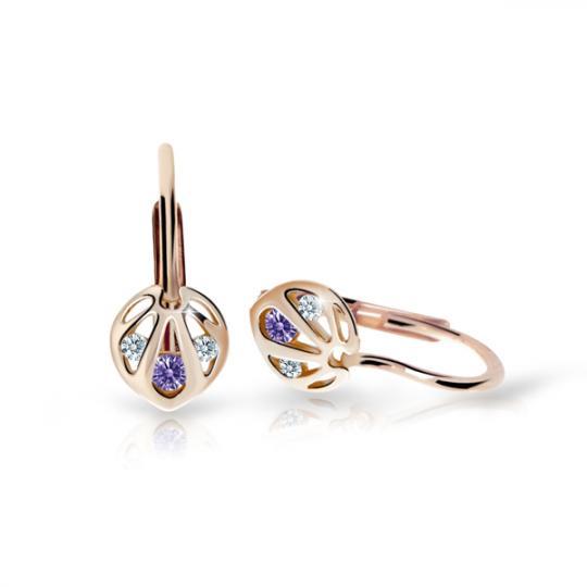Children's earrings Danfil C2265 Rose gold, Amethyst, Leverbacks