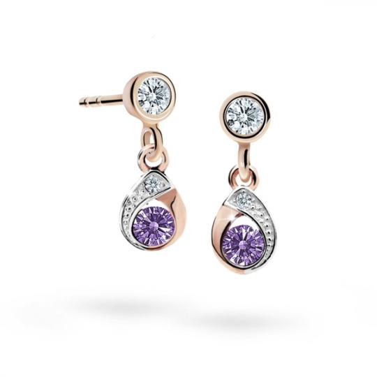 Children's earrings Danfil Drops C1898 Rose gold, Amethyst, Butterfly backs
