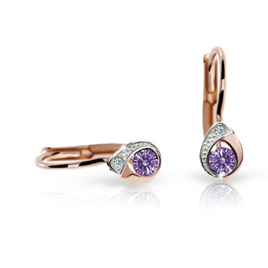 Children's earrings Danfil Drops C1898 Rose gold, Amethyst, Leverbacks