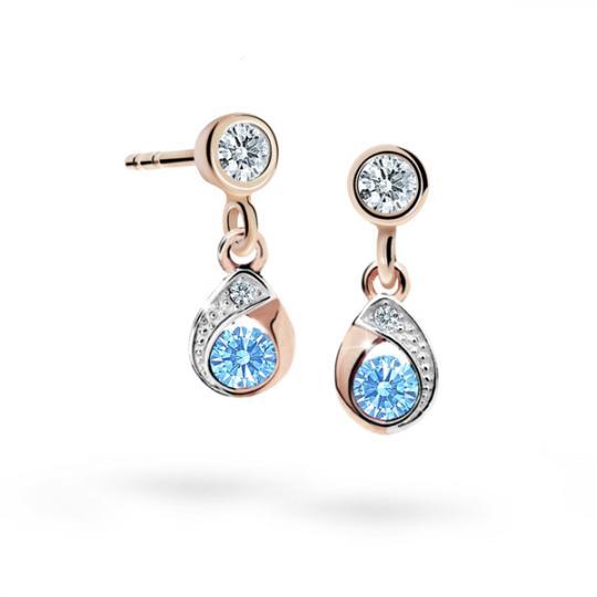 Children's earrings Danfil Drops C1898 Rose gold, Arctic Blue, Butterfly backs