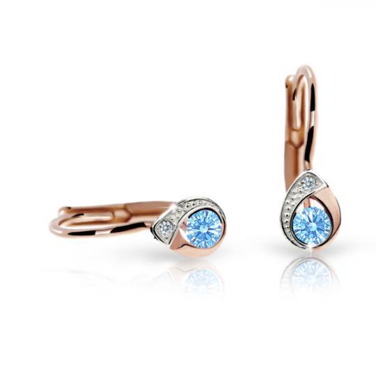Children's earrings Danfil Drops C1898 Rose gold, Arctic Blue, Leverbacks