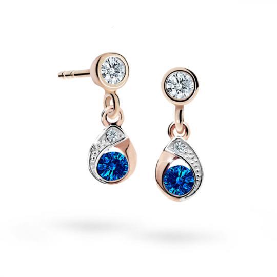 Children's earrings Danfil Drops C1898 Rose gold, Dark Blue, Butterfly backs
