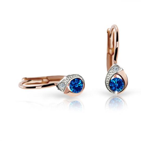 Children's earrings Danfil Drops C1898 Rose gold, Dark Blue, Leverbacks