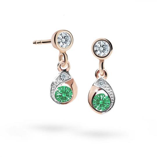 Children's earrings Danfil Drops C1898 Rose gold, Emerald Green, Butterfly backs