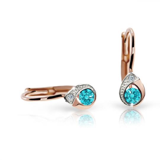Children's earrings Danfil Drops C1898 Rose gold, Mint Green, Leverbacks