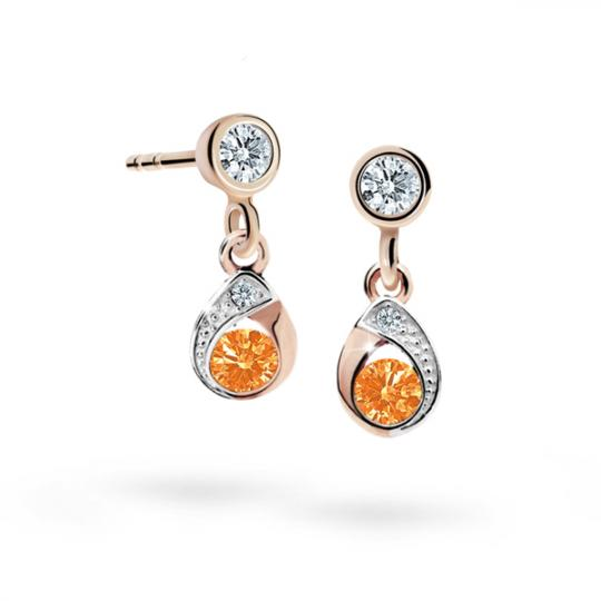 Children's earrings Danfil Drops C1898 Rose gold, Orange, Butterfly backs