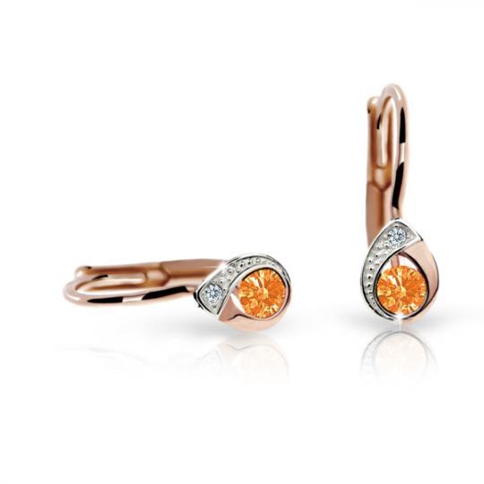 Children's earrings Danfil Drops C1898 Rose gold, Orange, Leverbacks