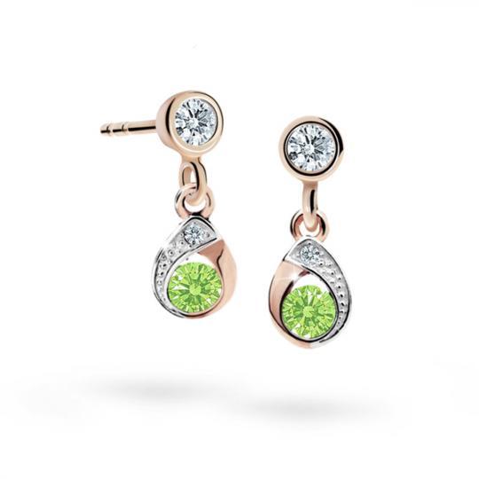 Children's earrings Danfil Drops C1898 Rose gold, Peridot Green, Butterfly backs