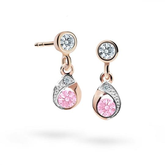 Children's earrings Danfil Drops C1898 Rose gold, Pink, Butterfly backs