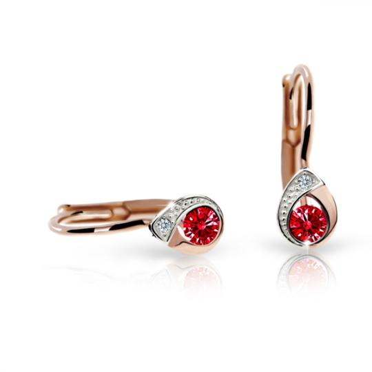Children's earrings Danfil Drops C1898 Rose gold, Ruby Dark, Leverbacks