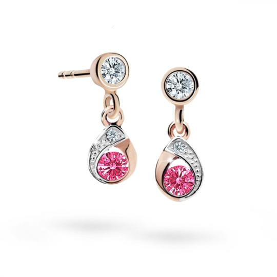 Children's earrings Danfil Drops C1898 Rose gold, Tcf Red, Butterfly backs