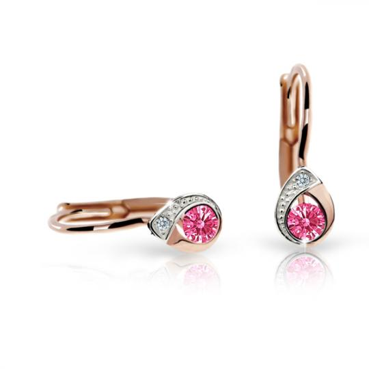 Children's earrings Danfil Drops C1898 Rose gold, Tcf Red, Leverbacks