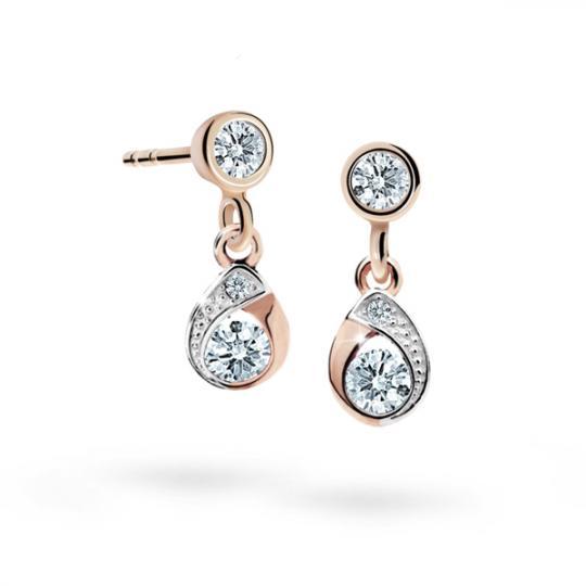 Children's earrings Danfil Drops C1898 Rose gold, White, Butterfly backs