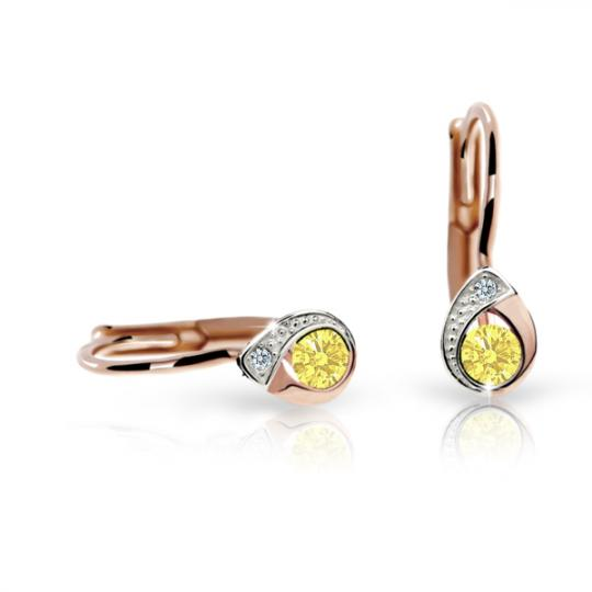 Children's earrings Danfil Drops C1898 Rose gold, Yellow, Leverbacks